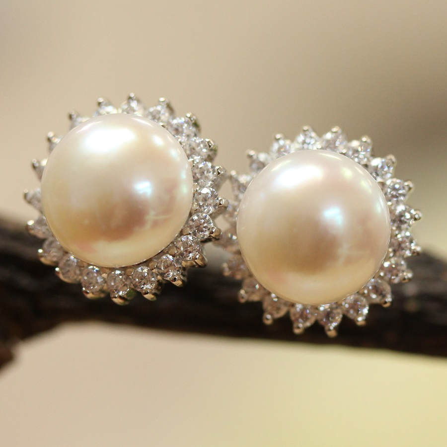 Dressy Large Pearl And Diamante Earrings Harriet Whinney Pearls