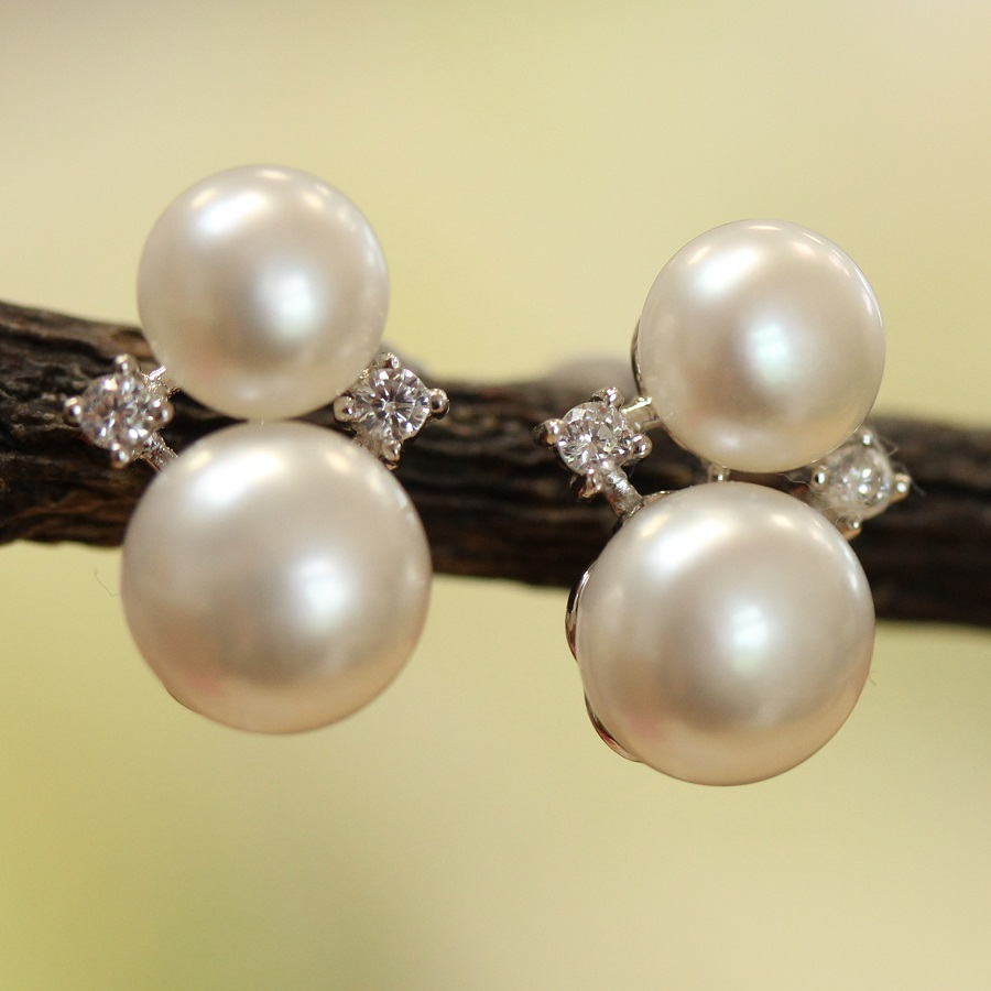 pearl diamante earrings