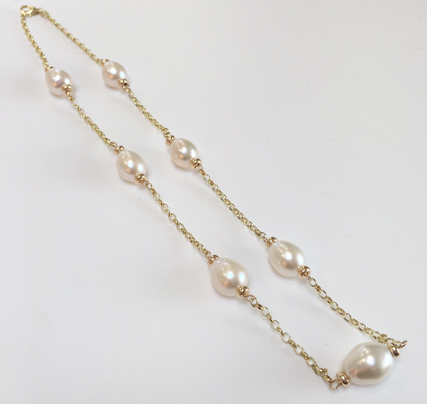jewellery necklace white freshwater pearl gold fwp products with clasp round