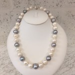 cream silver grey pearl necklace