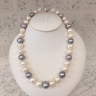 Classic Cream And Silver Grey Pearl Necklace Harriet