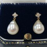 Diamond pearl cluster earrings